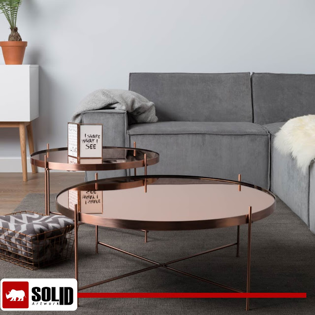 Large Round Copper Coffee Table