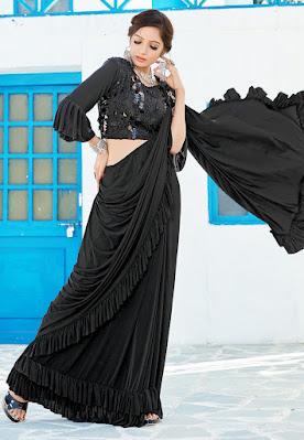 Indian Party Wear Ruffled Border Lycra Butterfly Pallu Saree in Black