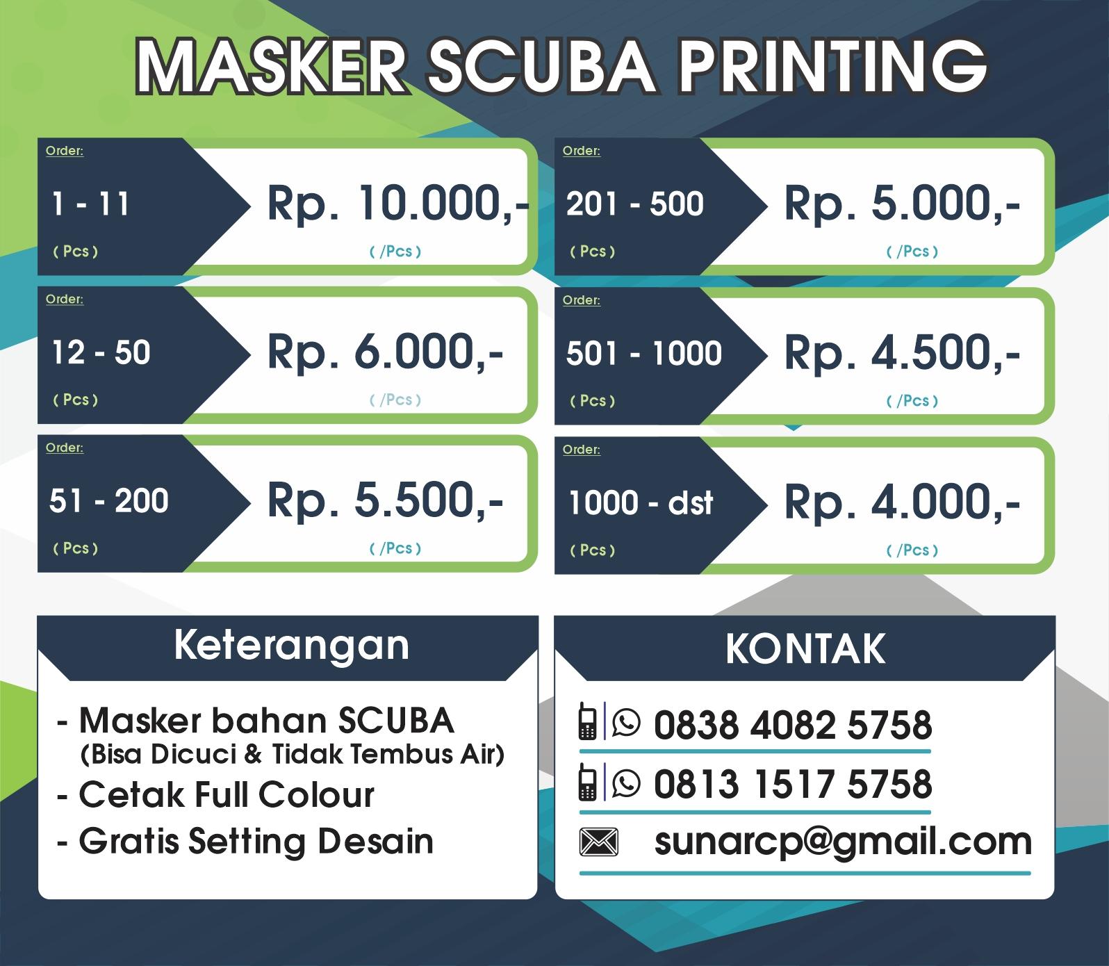 masker scuba printing, cetak masker scuba, masker scuba murah