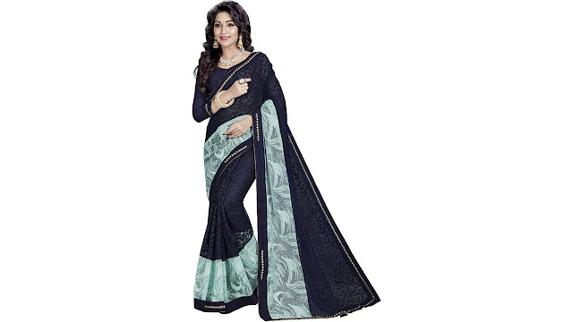Aarti Apparels Embroidered Bollywood Net, Lycra Saree  (Dark Blue)