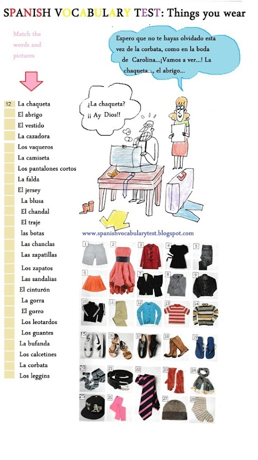 Spanish Vocabulary Test: Things you wear A2