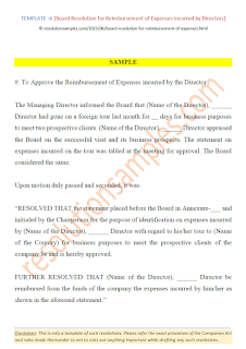 Board Resolution for Reimbursement of Expenses