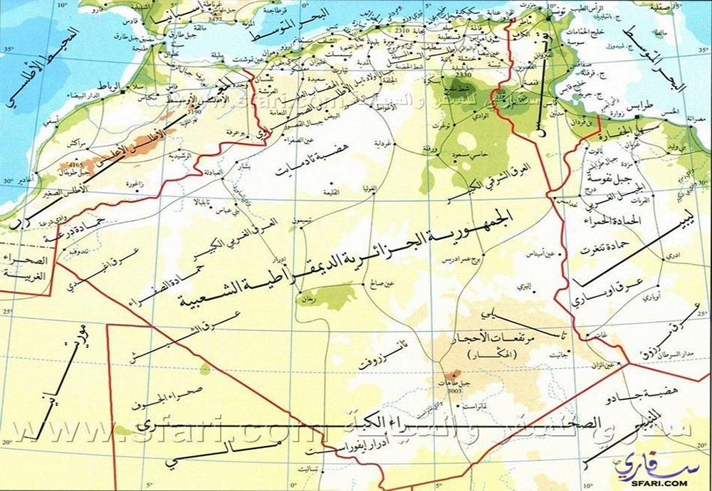 خريطة الجزائر المفصلة ولايات الجزائر بالاسماء والارقام