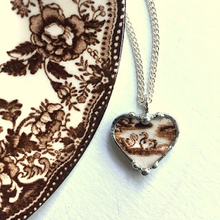 Broken china jewelry by Laura Love.