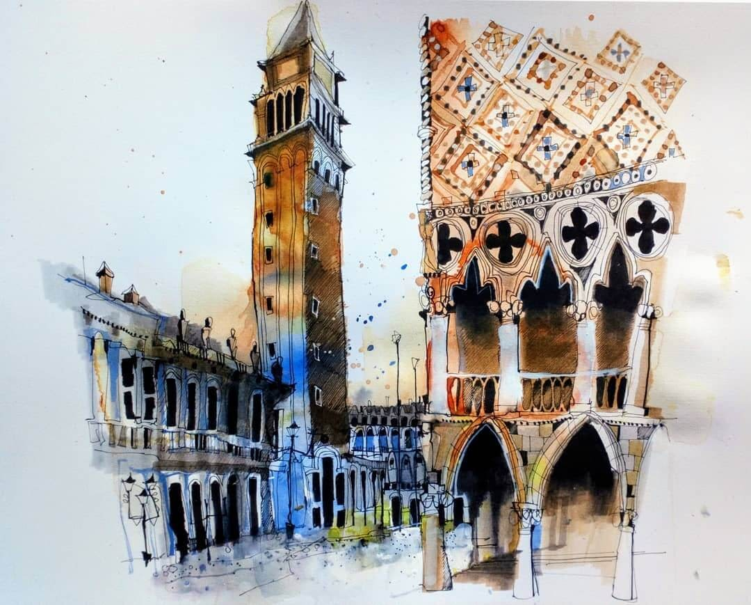 15-Palazzo-Ducale-Venice-Ian-Fennelly-Urban-Sketches-Colorfully-Painted-www-designstack-co