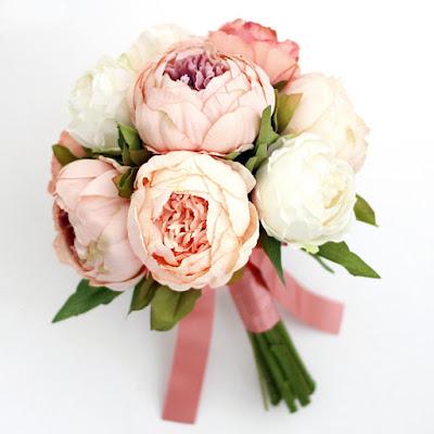 ピオニーのブーケ_ウェディングブーケと花髪飾りairaka