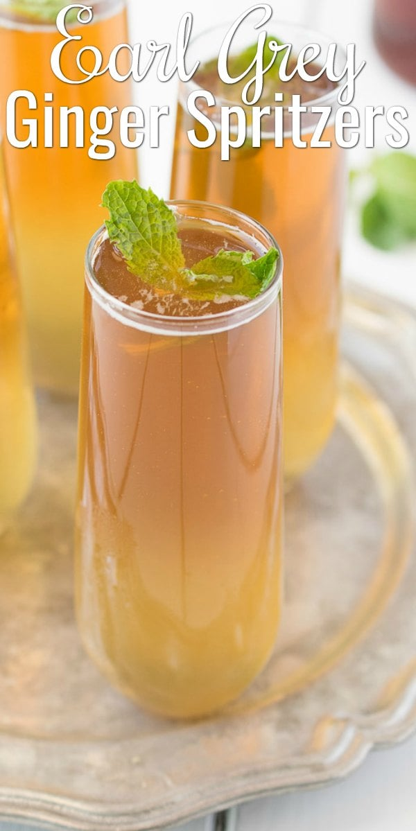 Earl Grey Ginger Spritzer are a fun cocktail or mocktail for entertaining. A fun cocktail for Easter, Memorial Day, or 4th of July. Super refreshing and easy to make from Culinary Ginger for Serena Bakes Simply From Scratch.