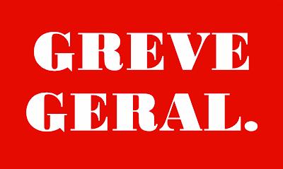 A imagem diz: greve geral.
