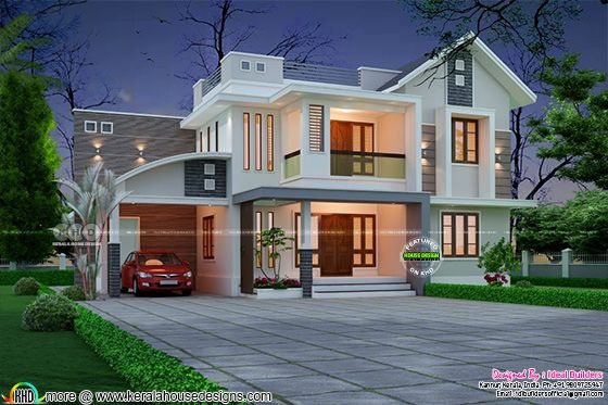 Very Beautiful mixed roof house architecture design