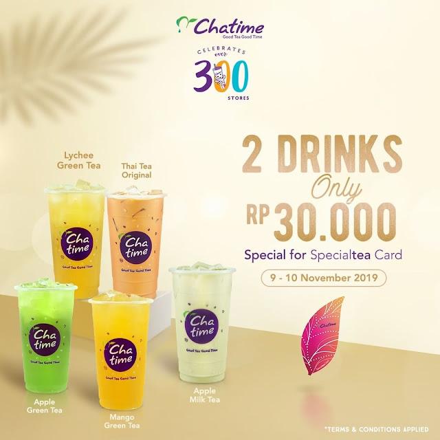 #Chatime - #Promo Special 300 Store Chatime Dapatkan 30K untuk 2 Cup (s.d 10 Nov 2019)