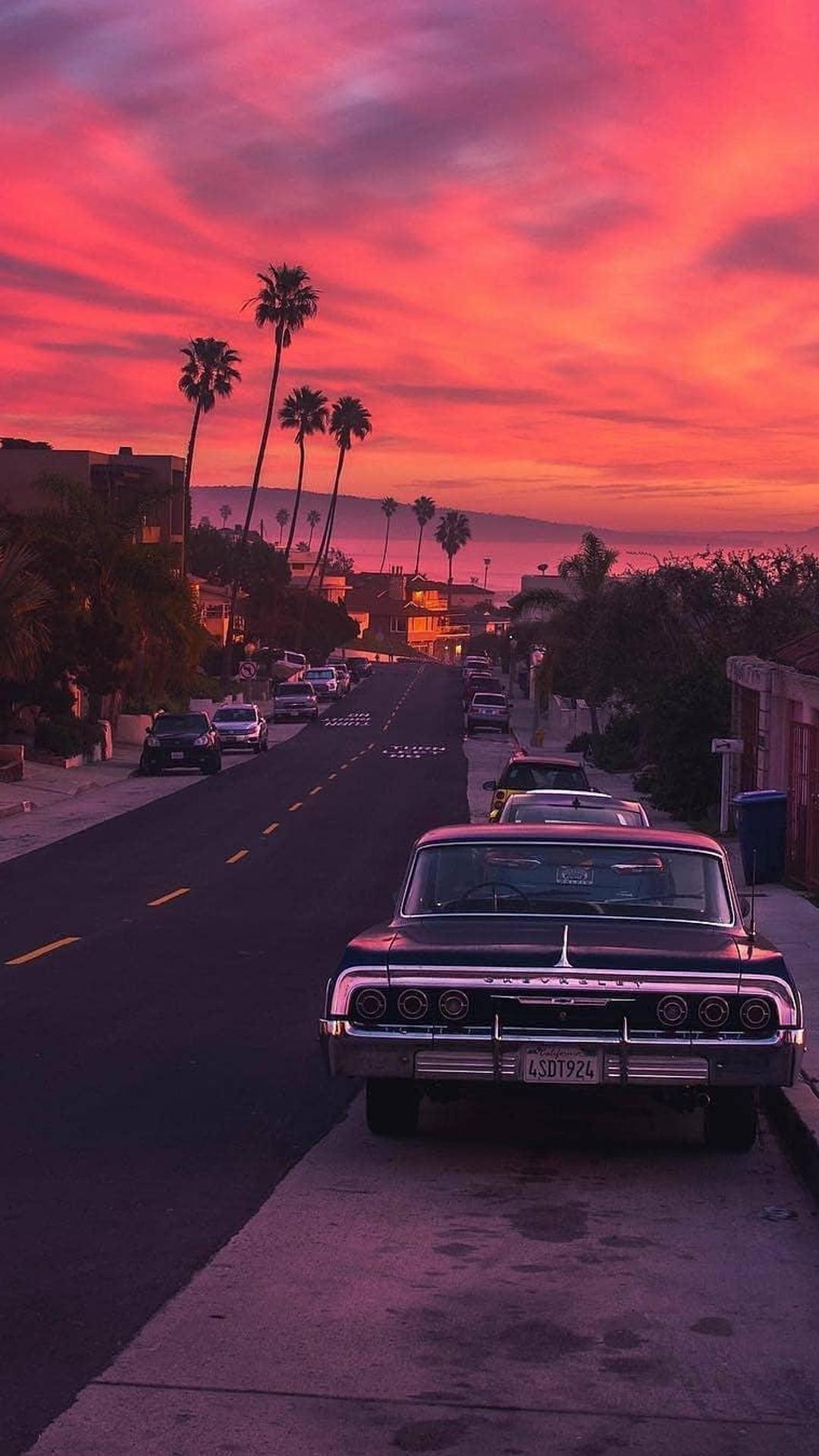 Evening Sunset street mobile wallpaper