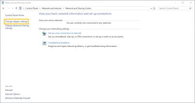 Cara Masuk Network and Sharing Center Di Windows 10