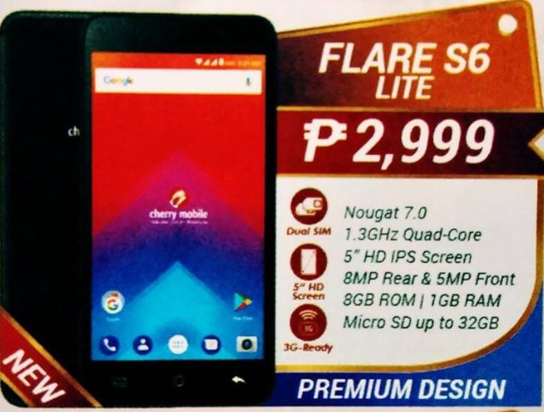 Cherry Mobile Flare S6 Lite; 5-inch Quad Core Android Nougat for Php2,999