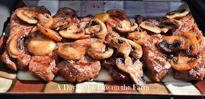 Strip Steaks with Mushrooms