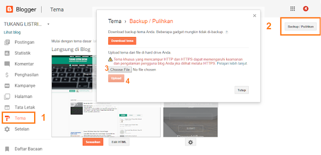 Ganti template blogger via upload