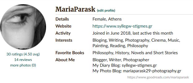 My profile Goodreads Mariaparask29