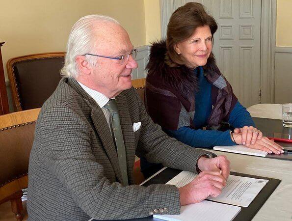 Crown Princess Victoria wore a camellia sweater by Baum und Pferdgarten. Queen Silvia and Veronika Wand-Danielsson