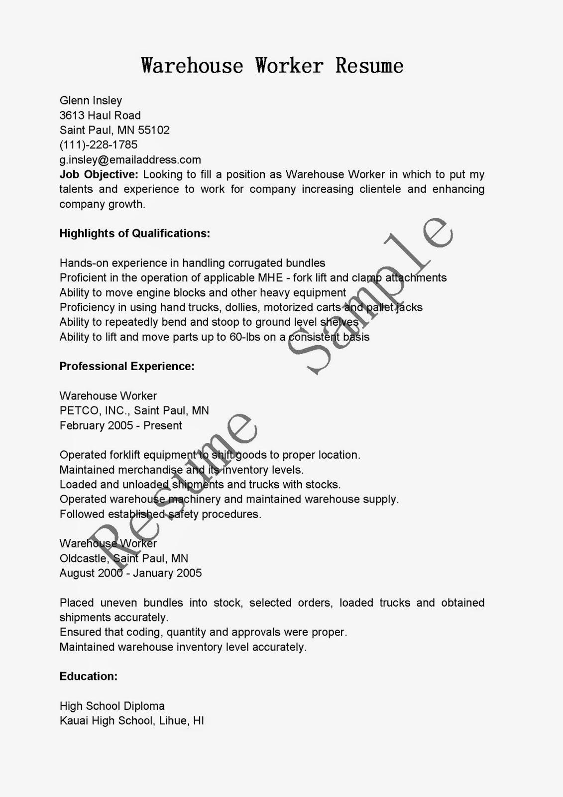 resume samples  warehouse worker resume sample