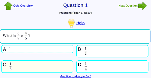 Multiplying fractions exercise - Easy level