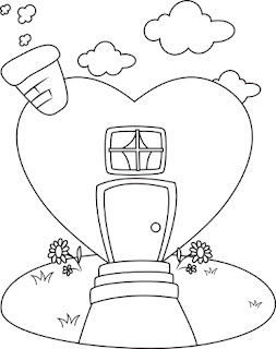 Clipart Image of a Colouring Page of a Heart House