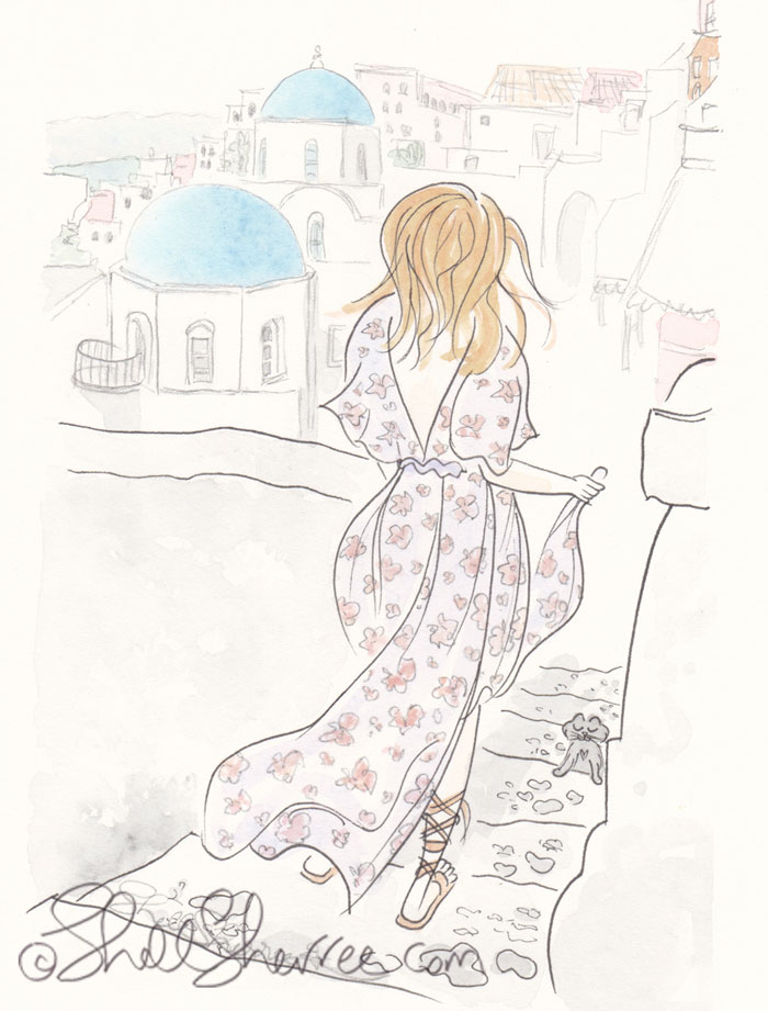 Santorini Sartorial Stroll illustration, Fashion & Fluffballs © Shell Sherree