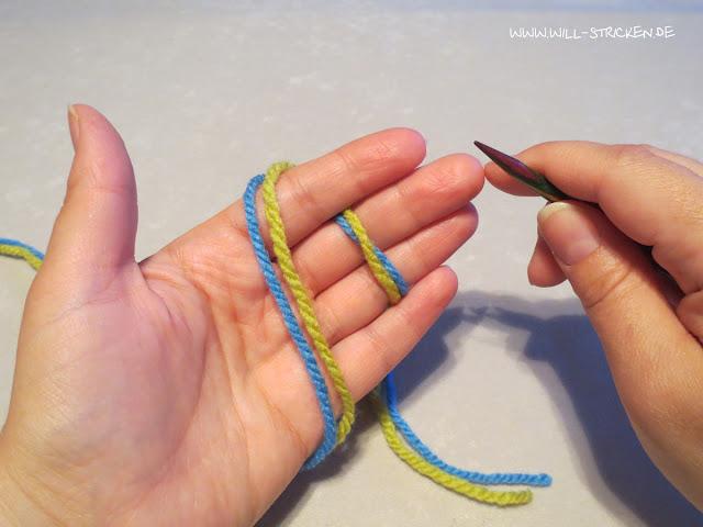 Laufknoten als Anfangsschlinge beim Stricken- Fadenhaltung