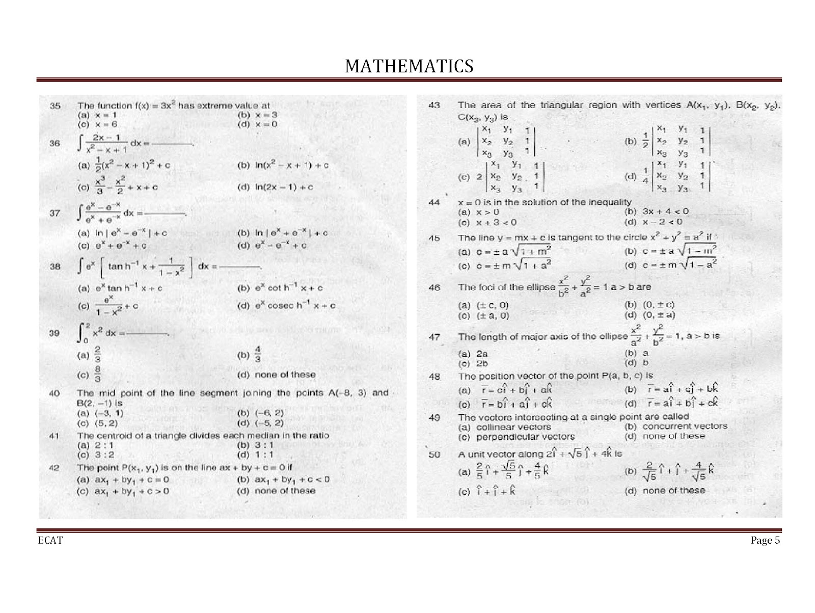 Math pass year paper