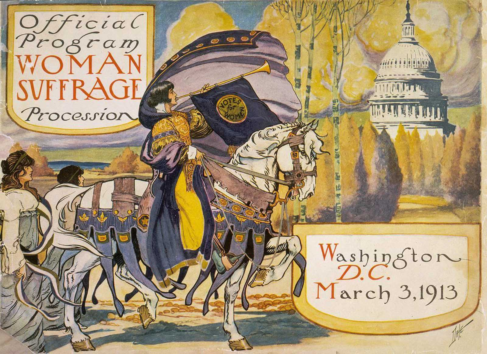 Cover of the program for the 1913 women's suffrage procession.