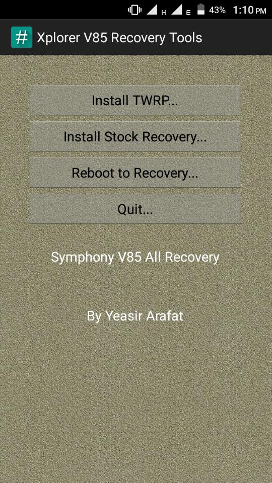 Symphony Xplorer V85 Recovery Tools [TWRP][CWM][Stock] - SU