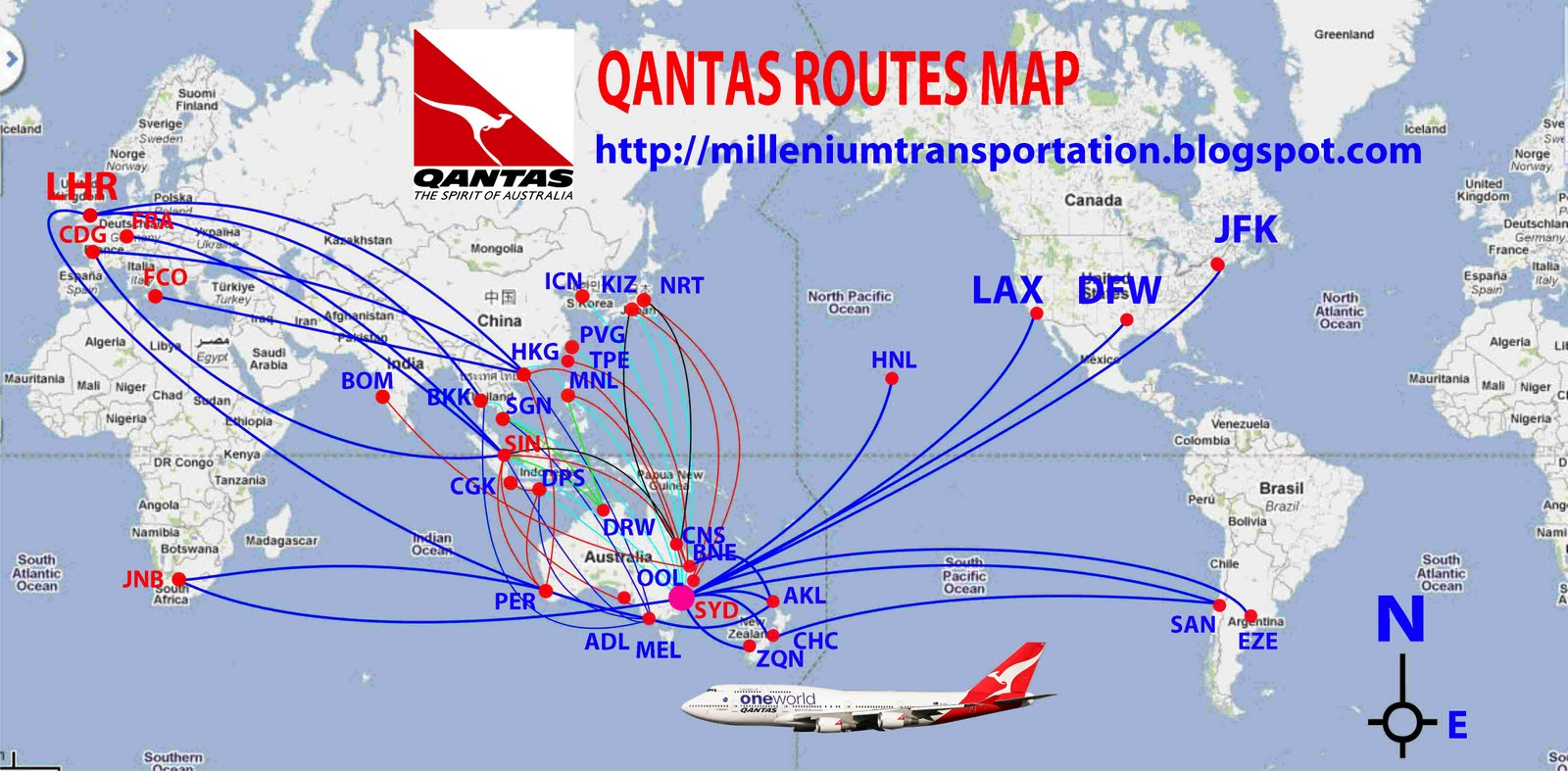Qantas Route Map Qantas routes map | Design Plane