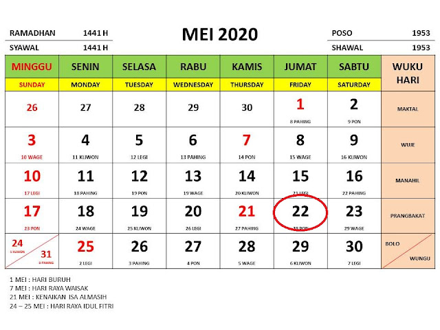 kalender cuti lebaran 2020