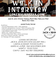 Walk In Interview di Jack And John Kitchen Surabaya Nopember 2019