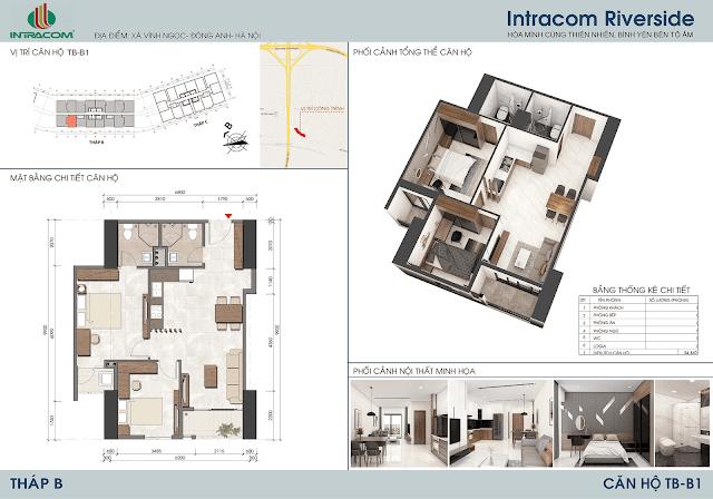 Thiết kế căn hộ B1 64m2 dự án Intracom Riverside Nhật Tân Đông Anh