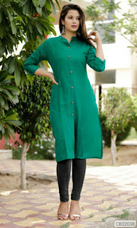 Special Cotton Solid With Button Front Slit  Straight Kurtis