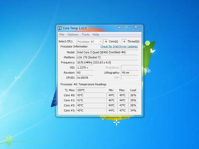 شاشة CPU Temp الرئيسية