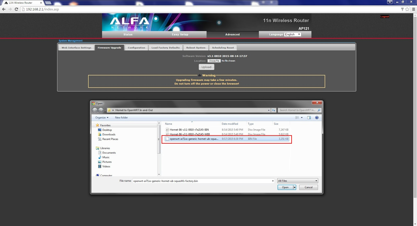 AP121 to OpenWRT In -and-Out Step-by-Step Procedure | ALFA