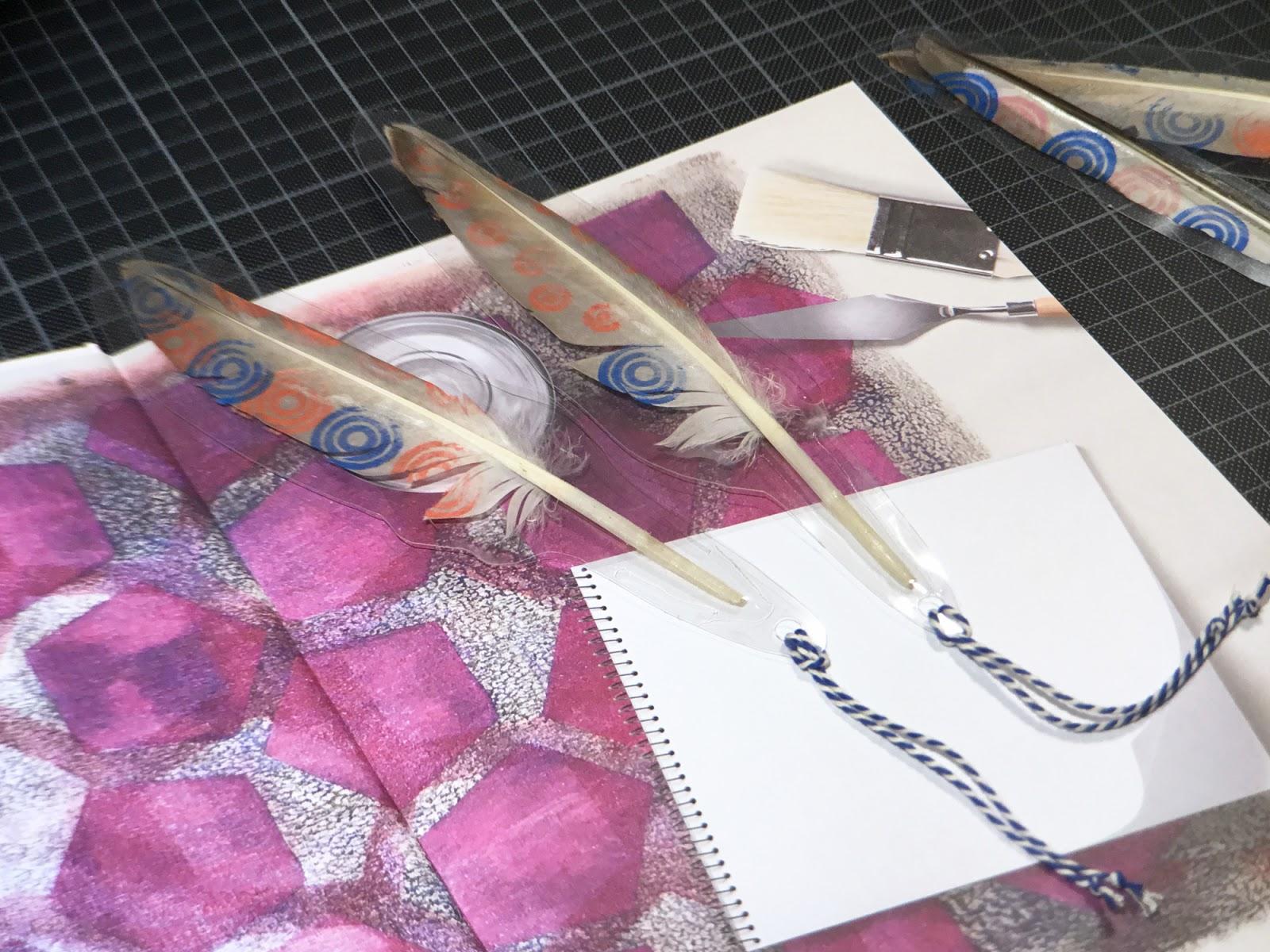 Papierscherestoff Federn Bestempeln Und Laminieren