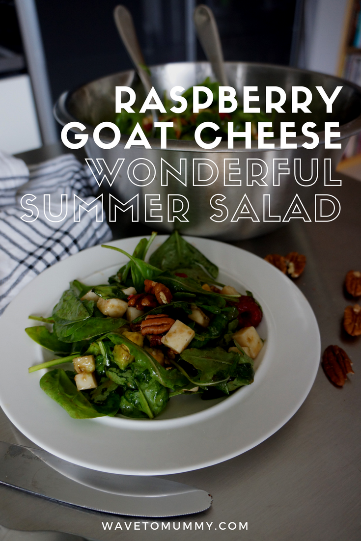 A recipe for a perfect summer salad - raspberry goat cheese salad. A combination of raspberries and goat cheese makes for a sweet, savoury and tangy perfection!