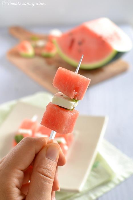 Brochettes de pastèque à la fêta
