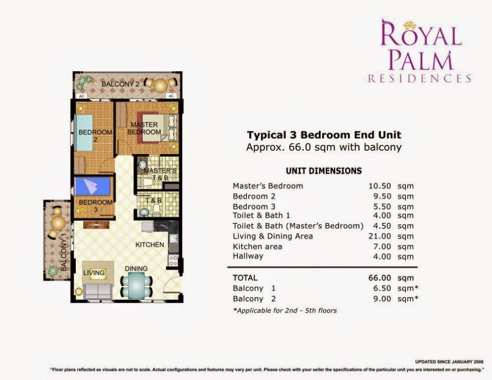 Royal Plam Residences - 3 Bedroom Unit 66.00 sqm.
