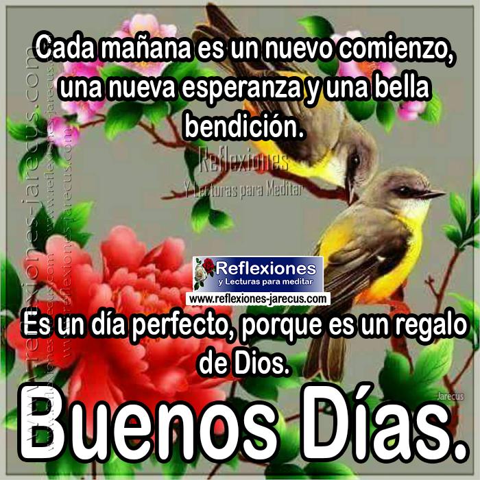 Cada mañana es un nuevo comienzo, una nueva esperanza y una bella bendición. Es un día perfecto, porque es un regalo de Dios. Buenos Días.