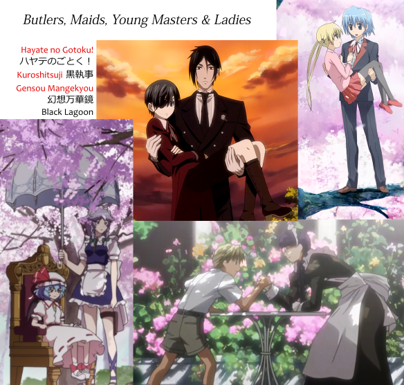 Ojousama, bocchan, maid and butler characters together, from the series Hayate no Gotoku ハヤテのごとく!, Gensou Mangekyou (Touhou) 幻想万華鏡(東方), Black Butler / Kuroshitsuji 黒執事, and Black Lagoon