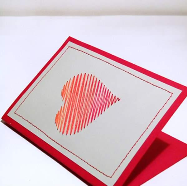 stitched paper heart Valentine