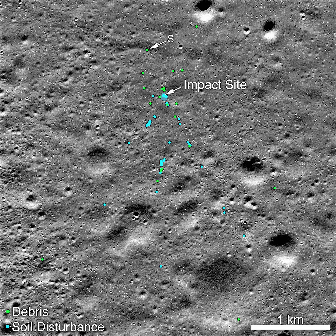 The remains of Vikram lunar spaceship The green dots indicate the debris. The blue dots indicate disturbance of the moon floor. Image: NASA/Goddard/Arizona State University.