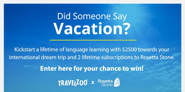 You could kickstart a lifetime of language learning with $2500 towards your international dream vacation plus TWO lifetime subscriptions to Rosetta Stone!