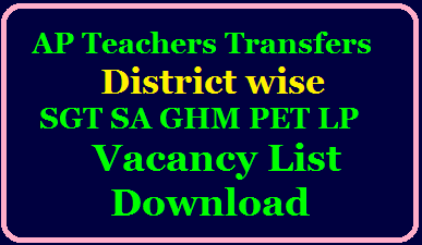 Download AP Teachers Transfers 2020 District wise SGT SA GHM PET LP Vacancy List Online @ cse.ap.gov.in AP Teachers Transfers 2020 District Wise Vacancies Category wise, District wise AP Teachers Transfers Vacancies cse.ap.gov.in/2020/07/ap-teachers-transfers-2020-district-wise-category-wise-sgt-sa-ghm-lp-pet-vacancy-list-download-cse.ap.gov.in.html