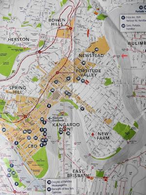 Brisbane Flussverlauf und Stadtplan