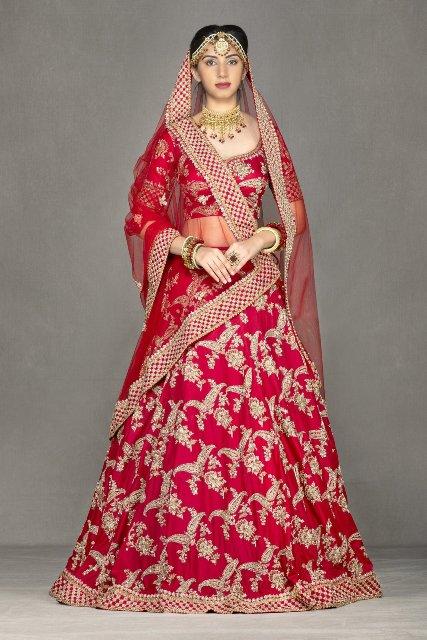 Asian Bridal Wear Red Traditional Lehenga