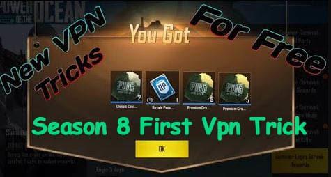 PUBG New Vpn Trick   Season 8 First Free Trick