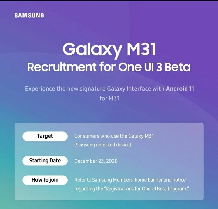 samsung one ui 3.0 beta version for m31